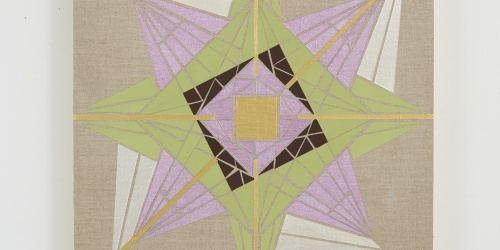 Suzanne Wright, Octogram, 2019 (vinyl, flashepaint, and acrylic on linen,16x16)