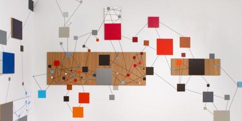 Mariangeles Soto-Diaz, Monochrome, 2012, bamboo panels, vinyl on wall