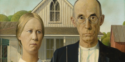 image of Grant Wood, American Gothic, Art Institute of Chicago