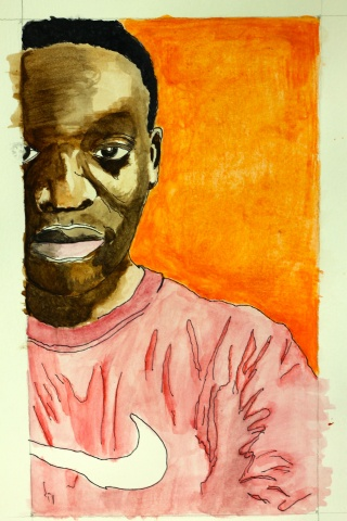 Thierry Habinshuti, Self Portrait, Painting. Grade 12, Age 19, Des Moines Christian School, Urbandale, IA. Zane Vredenburg, Educator; Belin-Blank Center, Affiliate; 2016 Gold Key; 2016 Grant Wood Legacy Prize.