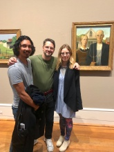"Grant Wood Fellows Joe deVera and Eleanna Anagnos with ""American Gothic"" at the Art Institute of Chicago"